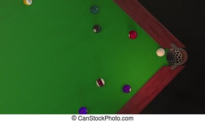Billiard ball hits the hole view from above in 4k