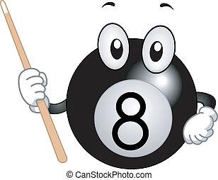 Billiard Ball Mascot - Mascot Illustration Featuring a...