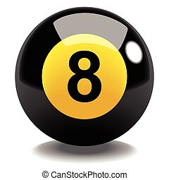 Billiard Ball No.8 - Stock vector of billiard ball number 8