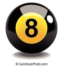 Billiard Ball No.8 - Stock vector of billiard ball number 8