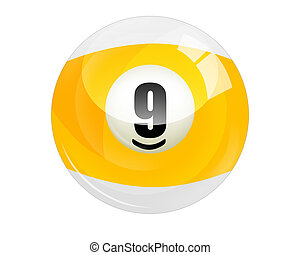 Billiard Ball Number 9 Isolated On White