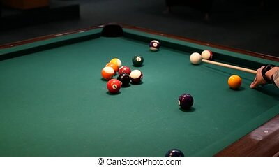 Billiard ball shot into hole. 4k UHD video footage
