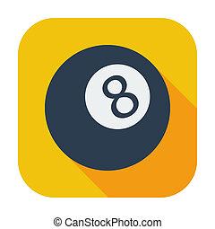 Billiard ball. Single color flat icon. Vector illustration.