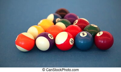 billiard ball triangle and white ball on blue table. Abstract business decision and risk