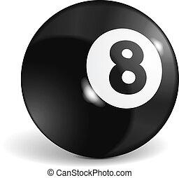 Billiard Ball - Billiard ball with number eight, vector...