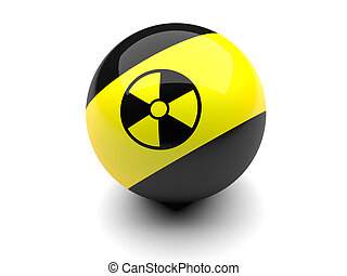 Billiard ball with radiation signs  on a white background