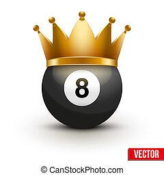 Billiard ball with royal crown