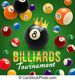 Billiard balls and crown. tournament. 3D vector - Billiards...