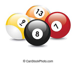 Billiard balls - Four billiard balls with numbers: seven,...