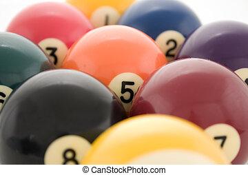 Billiard balls close up