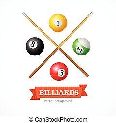 Billiard Balls Concept with Cue. Vector