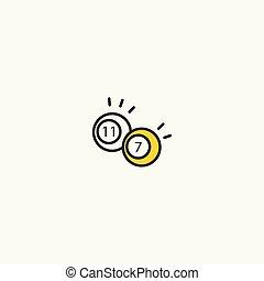 Billiard balls crashing color line icon vector.