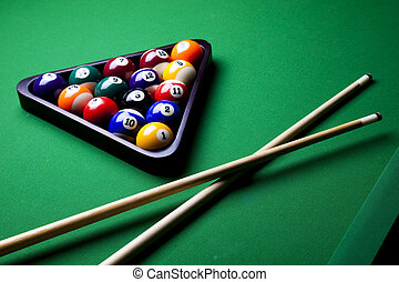 Billiard balls, cue on green table - Billiard game