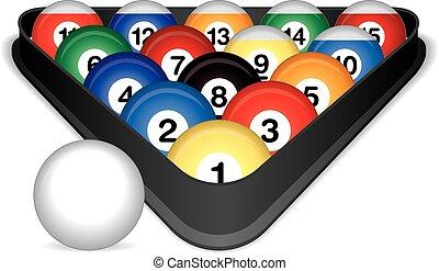 Billiard balls cued