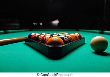 Billiard balls in a pool table.
