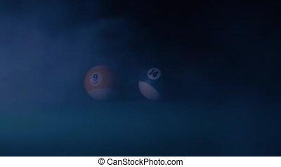 Billiard balls in the smoke, slow motion 9, 14.