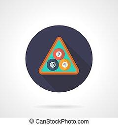Billiard balls in triangle flat round vector icon