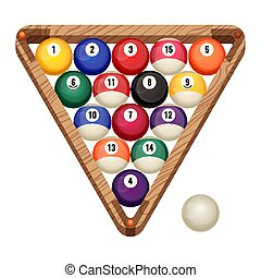 Billiard balls in a wooden rack, vector illustration of commonly used starting position. Snooker and pool gaming concept