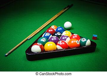 Billiard balls on table