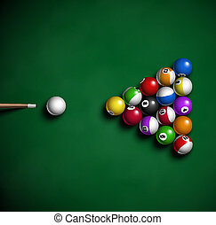 Billiard balls on table. Eps 10