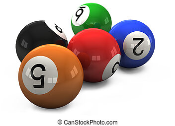 billiard balls out of American billiards on a white ...