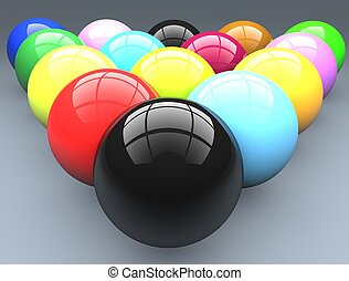 Billiard balls. Pool balls are a triangle. Multi-colored balls.