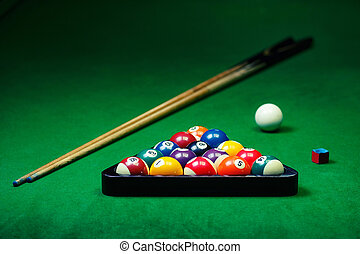 Billiard balls pool on green table