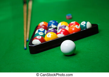 Billiard balls pool on green table