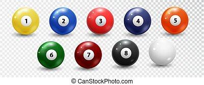 Billiard balls set on white background. Vector design elements