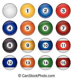 Billiard Balls - Image of various colorful billiard balls...