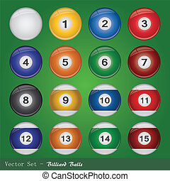 Billiard Balls - Image of billiard balls on a green...