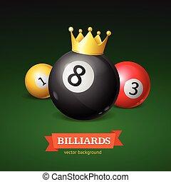 Billiard Balls with Golden Crown. Vector