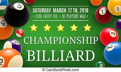 Billiard championship sport, vector