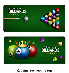 Billiard club game banner template. Billiard pool green table design. Sport flyer ball tournament poolroom.