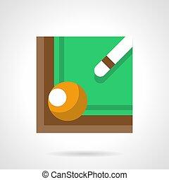 Billiard cue and ball flat color vector icon