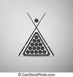 Billiard cue and balls icon. Vector Illustration.