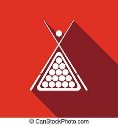 Billiard cue and balls icon with long shadow. Vector...