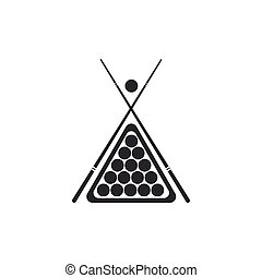 Billiard cue and balls in a rack triangle icon isolated. Flat design. Vector Illustration
