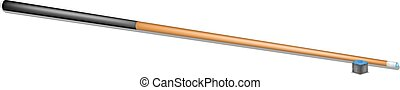 Billiard cue and chalk block with shadow on white background