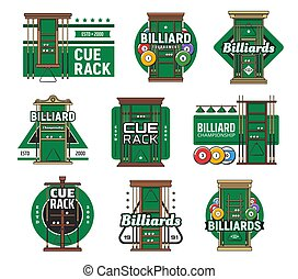 Billiard cue rack isolated vector icons of pool and snooker sport. Billiard game balls, cues, pool room table lights and triangles, billiards tournament and championship emblems design