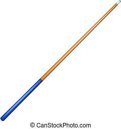 Billiard cue with blue handle