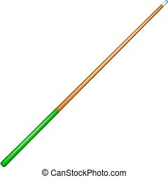 Billiard cue with green handle