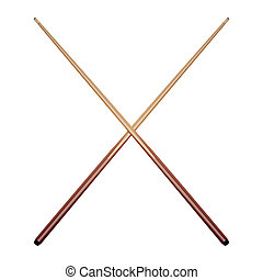 Billiard cues isolated on white background. Vector...