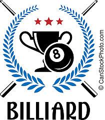 Billiard emblem with laurel wreath