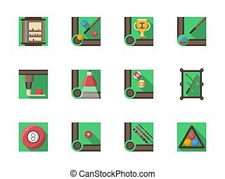 Billiard equipment flat square vector icons set