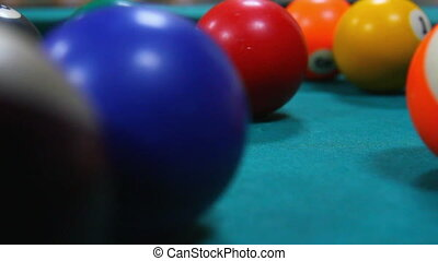 billiard game close-up - timelapse