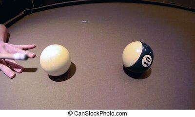 Billiard Game Cue Shot - A cue shot video in a pool game
