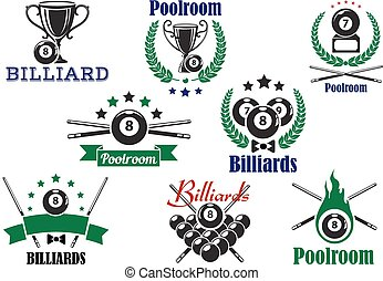 Billiard game or poolroom icons and symbols with balls, trophy cup, crossed cues and decorations