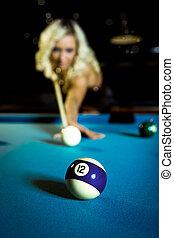 billiard girl - a young  woman playing billiard