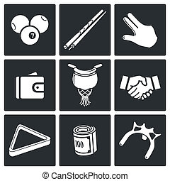 Billiard icon collection